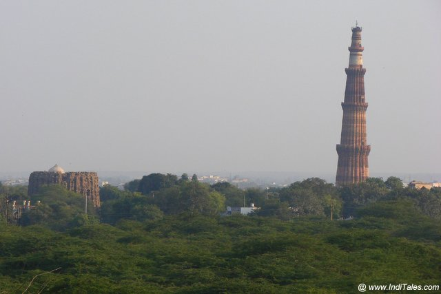Landscape view of Qutub Minar and Alai Minar from Lal Kot