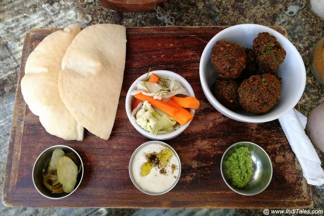 Mediterranean Food Falafel at the Artjuna, Anjuna