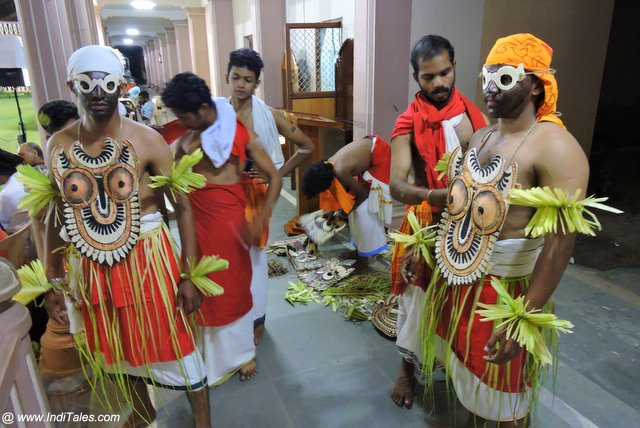 Dancers getting ready for their Kolam in Padayani