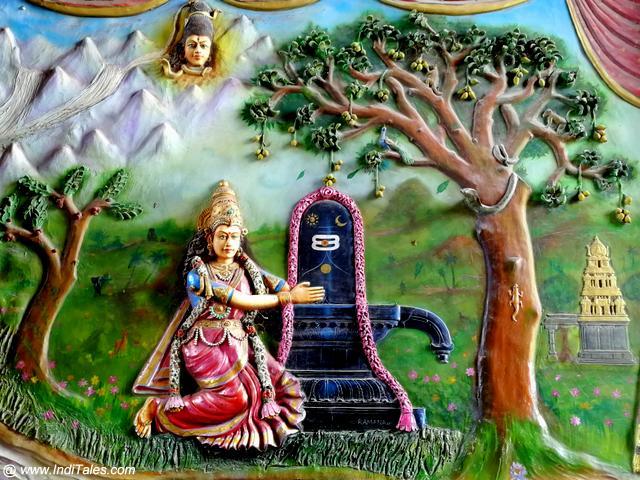 Parvati embracing the Shivalingam