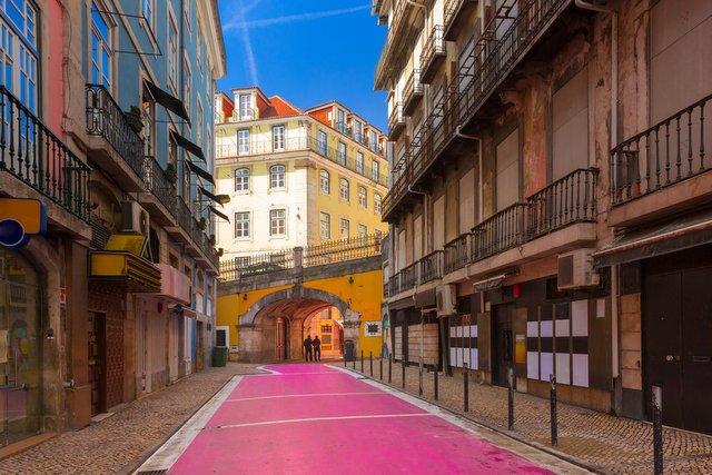 Pedestrian Pink Street Lisbon Rua Nova do Carvalho