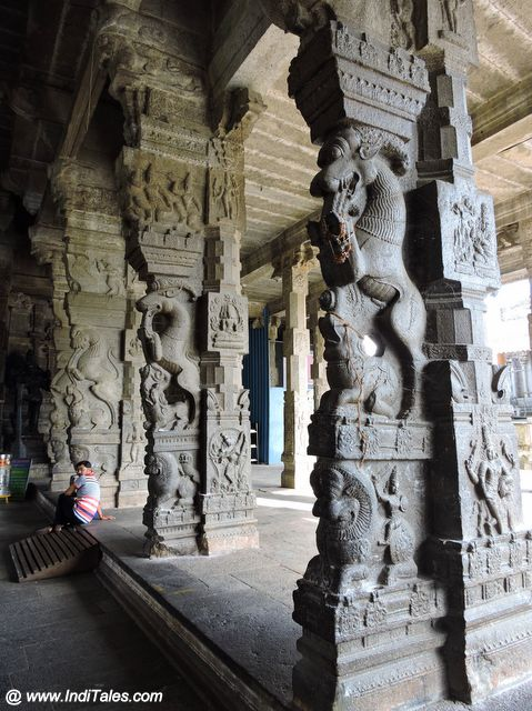 Beautiful carved stone pillars of Ekmanbareswarar Temple
