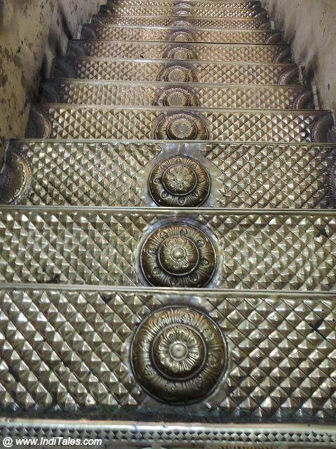 Golden stairs leading to Garbhagriha of Devarajaswamy - Kanchipuram