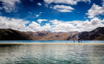Tourists at the Pangong Lake, Ladakh