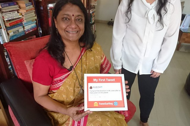 Anuradha Goyal with her first Tweet