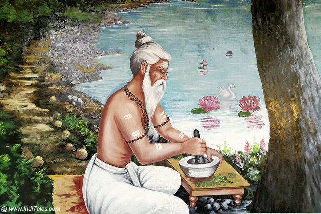 Mural depicting the making of Ayurvedic Medicines