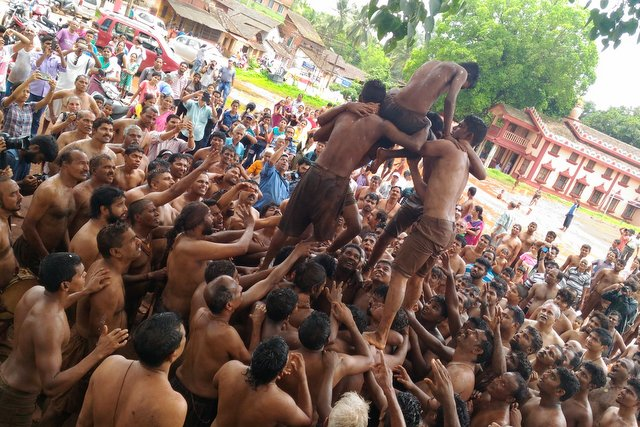 Dahi Handi event at Chikal Kalo festival, Unique Festivals of Goa