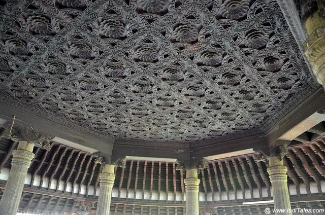 Fabulously carved wooden ceilings with ceramic pillars