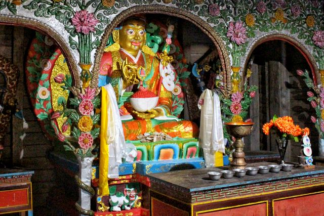 Guru Padmasambhava statue at Samten Yongcha Monastery, Mechuka