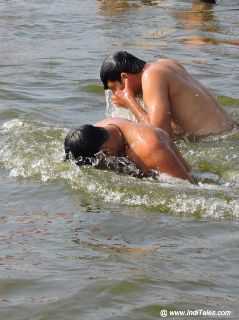 A holy dip at Sangam