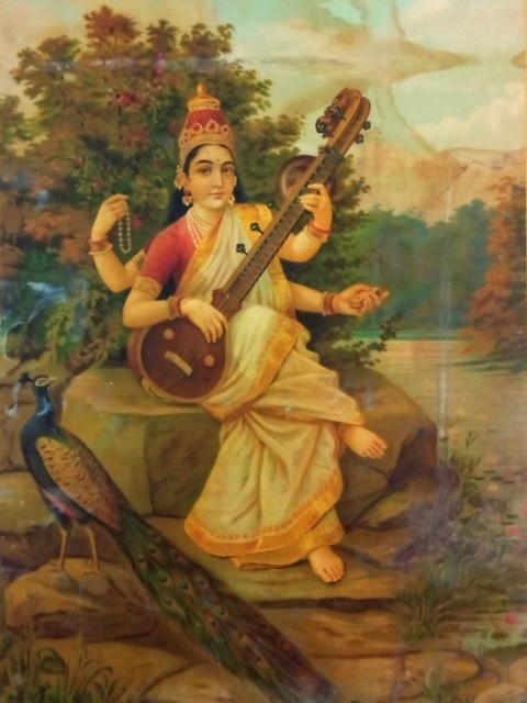 Saraswati image from the Raja Ravi Varma Oleographs