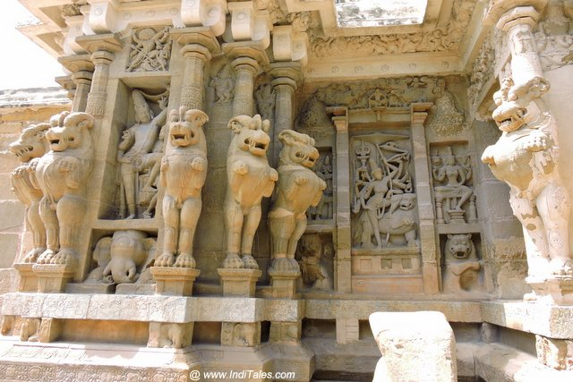 Durga Sculpture surrounded by Pallava Lions