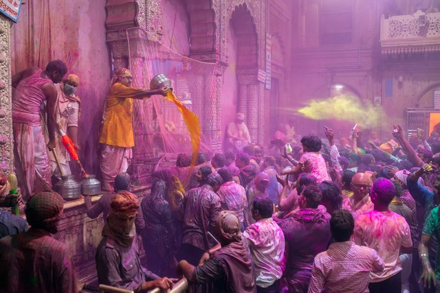 Festival of Colors at Banke Bihari Temple - Vrindavan