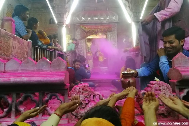 Holi at a temple in Vrindavan