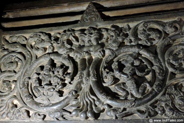 Kirtimukh on the pillars of Kopeshwar Mahadev Temple