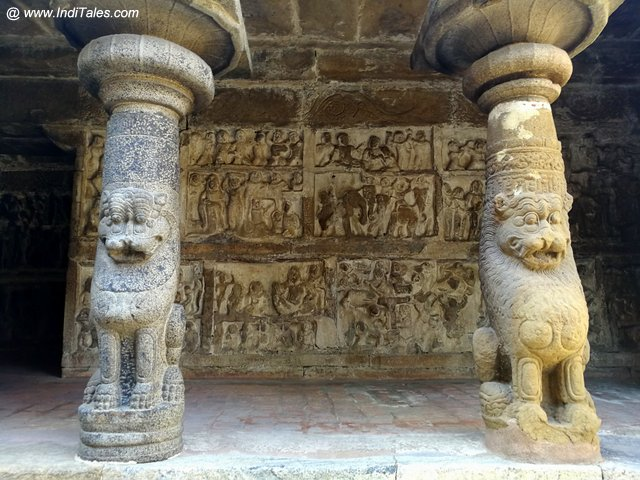 Sculpted Walls Behind Lion Base Pillars at Vaikuntha Perumal Temple - Kanchipuram