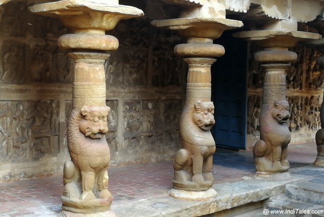 Pallava pillars with a lion-shaped base
