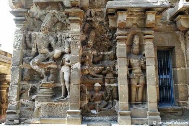 Sculpted walls of Vaikuntha Perumal Temple in Kanchipuram