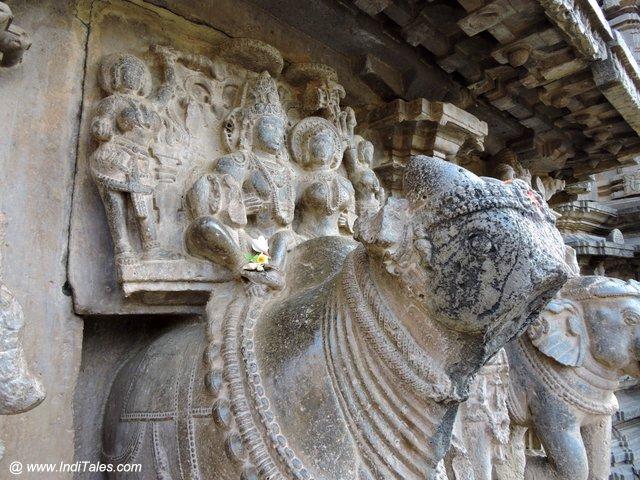 Shiva and Parvati on their vehicle Nandi at Kopeshwar Mahadev Temple