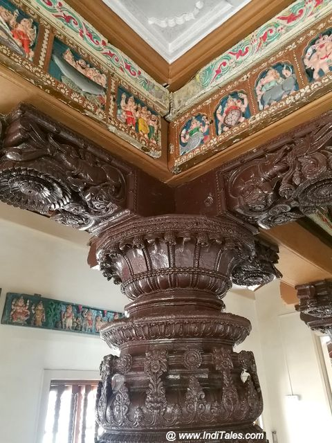 Carved wooden Pillars and Ceiling Panels at Kashi Purush Temple
