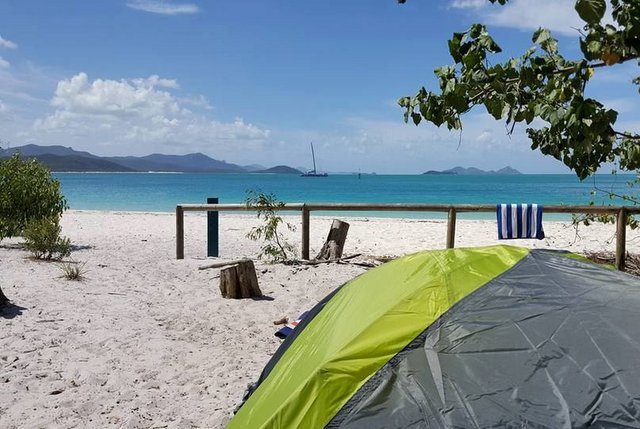 Camping on Whitehaven beach, Queensland