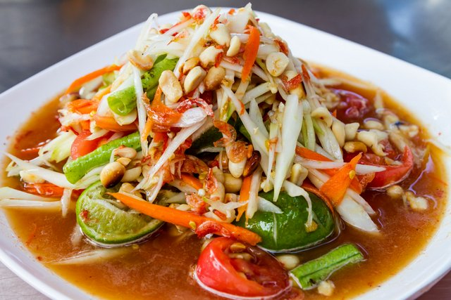 Som Tam Green Papaya salad spicy and delicious