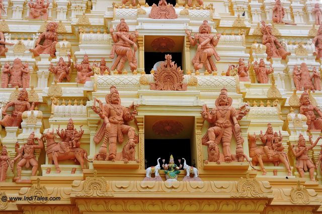 Closer view of various figurines on the Naguleswaram Temple