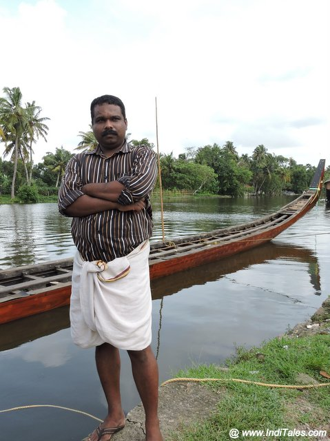 Kerala Man with Snake Boat Alleppey Kerala