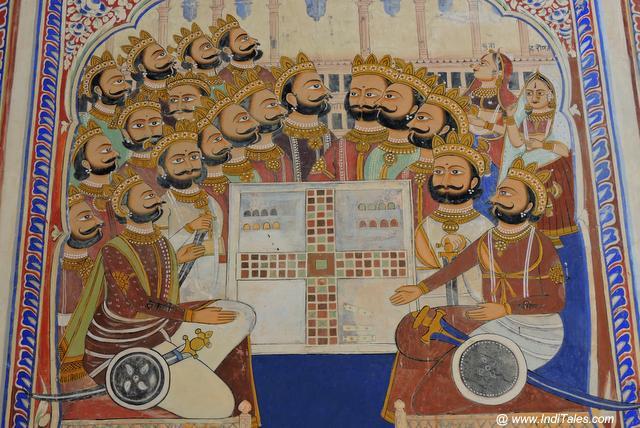 Mahabharat dice game scene mural