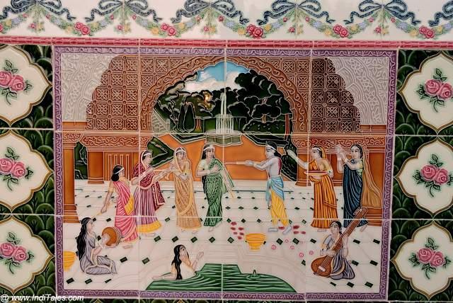 Krishna Playing Holi on Ceramic Tiles