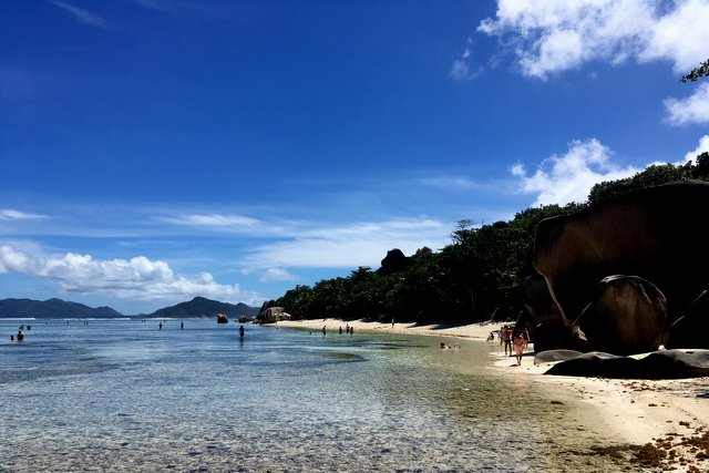 La Digue beach, Seychelles landscape view