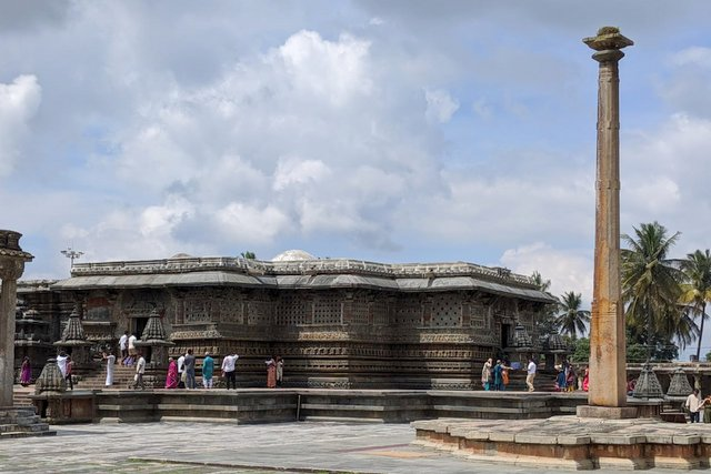 Deepastambha or Anti-Gravity Pillar at Chennakeshva Temple Belur