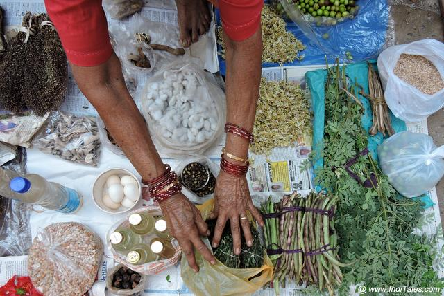 Herbs being sold at the Mapusa Market
