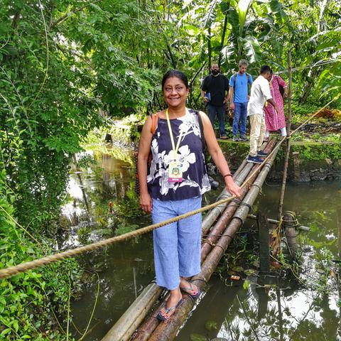 Anuradha Goyal crossing backwaters the locals way at Kerala