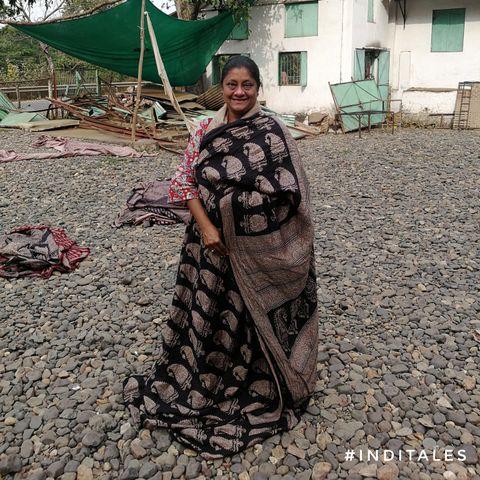 Anuradha Goyal exploring local weave saree at Mandu