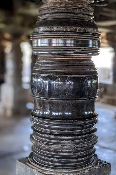 Circular polished Pillar - Hoysala Temples