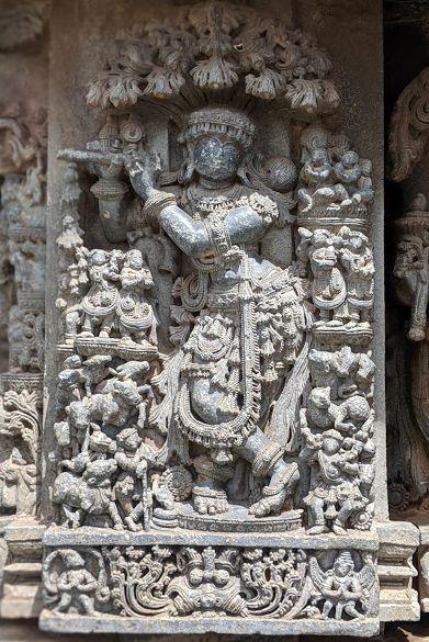 Krishna under Kadamba Tree - Hoysala Temples