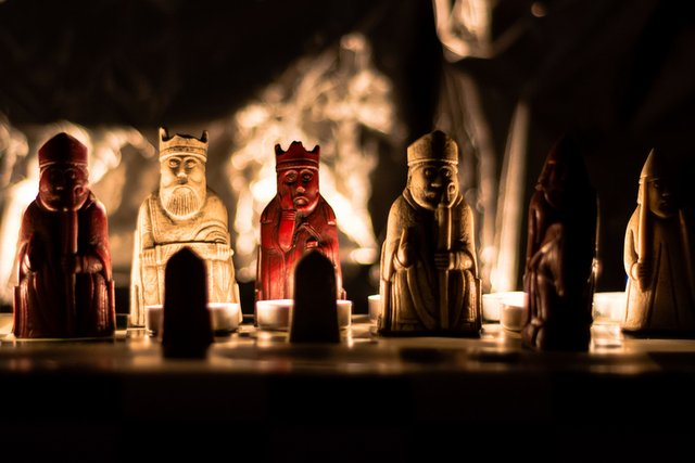 Lewis Chess set in candlelight