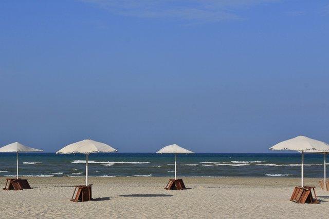Aktau Beach by the Caspian Sea