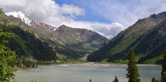 Landscape view of Big Almaty Lake, Kazakhstan
