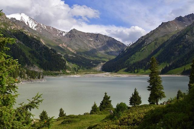 Landscape view of Big Almaty Lake, Kazakhstan
