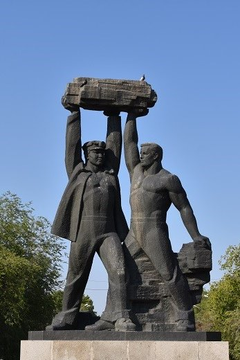 A heritage monument depicting Miners, Karaganda