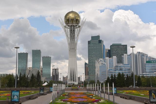 Landscape view of Nur-Sultan Baiterek tower