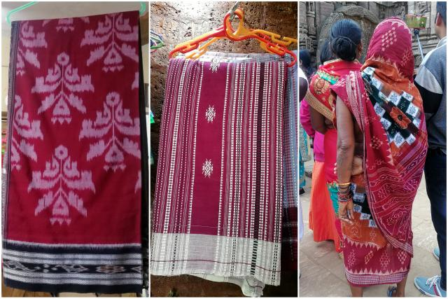 Collage of Sambalpuri Sari, Kotpad Sari and Pasapalli Sari popular textiles