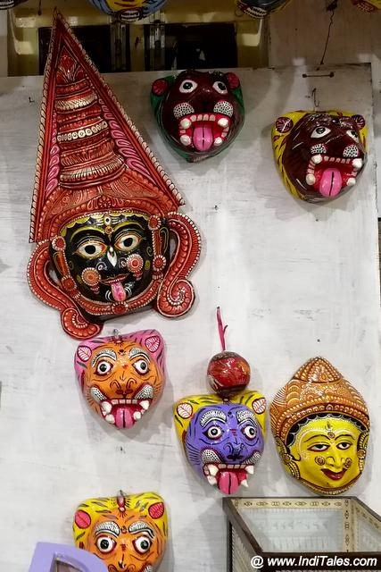 Colorful wooden masks from Raghurajpur