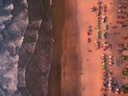Aerial shot of Goa beach