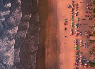 Aerial shot of Goa beach