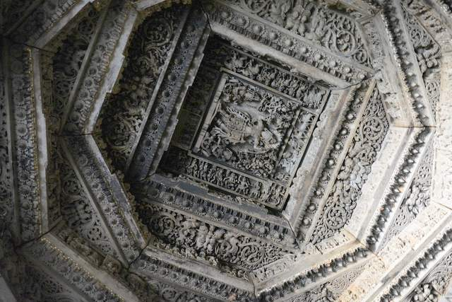 The intricately carved stone ceiling of the Basadi