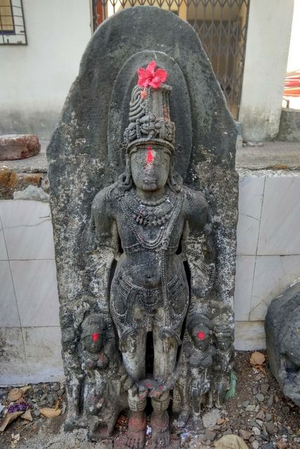 Exquisitely carved HariHara sculpture at Sopara