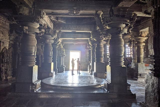 Interior view of Hoysaleshwar temple, Halebeedu